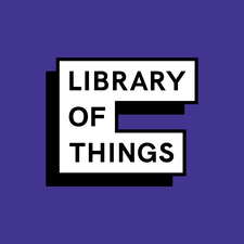"Black text on purple background ""Library of Things"""