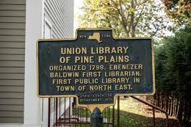 Historical marker sign for Union Library of Pine Plains